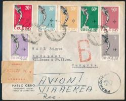 Ajánlott légi levél Budapestre Registered aimail cover to Hungary, Budapest