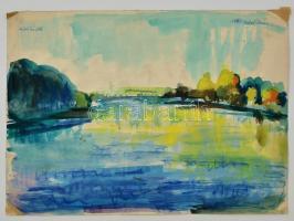Antal Irén (1903-1999): Vízparton, akvarell, papír, jelzett, 31×43 cm