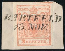 1850 3kr szegélyléclenyomattal kivágáson BARTFELD Certifucate: Ferchenbauer