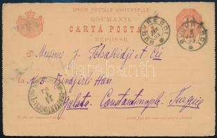 Levelezőlap Törökországba Konstantinápoly osztrák postán érkeztetve Cover from Turkey / Constantinople  Austrian post