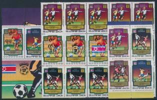 Football World Cup block of 30 from mini sheet + block of 4 from block, Labdarúgó VB kisívből kitépett ívközéprészes harmincastömb + blokkból kitépett négyestömb