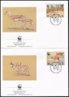 WWF Goitered gazelle set on 4 FDC WWF: Golyvás gazella sor 4 db FDC-n
