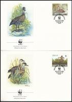 WWF Whistling duck set on 4 FDC WWF: Pálmafütyülőlúd sor 4 db FDC-n