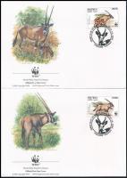 WWF East African oryx set on 4 FDC, WWF: Kelet-afrikai nyársas bak sor 4 db FDC-n