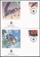 WWF Flying dog set 4 FDC, WWF: Repülő kutya sor 4 db FDC-n