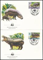 WWF Dwarf hippo set  4 FDC, WWF: Törpe víziló sor 4 db FDC-n