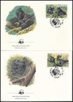 WWF Gorilla set 4 FDC WWF: Hegyi gorilla sor 4 db FDC-n
