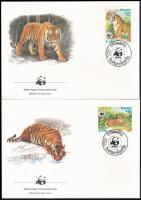 WWF Jaguar set 4 FDC WWF: Jaguár sor 4 db FDC-n