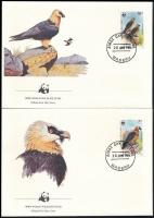 WWF: Bearded vulture set on 4 FDC, WWF: Szakállas saskeselyű sor 4 db FDC-n