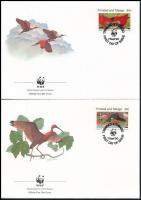 WWF Scratching, bird srt 4 FDC, WWF: Skarlátbalta, madár sor 4 db FDC-n