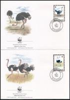 WWF Ostrich set on 4 FDC, WWF: Strucc sor  4 db FDC-n