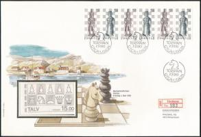 Chess pieces stripe of 6 on FDC Sakkfigurák hatoscsík FDC-n