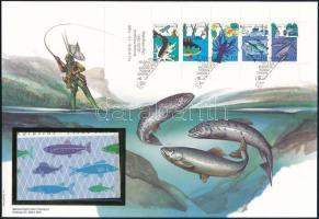 Halászat bélyegfüzetlap FDC-n, Fishing stamp-booklet sheet on FDC