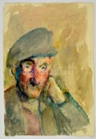 Antal Irén (1903-1999): Sapkás portré, akvarell, papír, jelzett, 45×32 cm