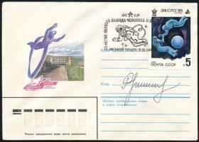 Nyikolaj Rukavisnyikov (1932-2002) szovjet űrhajós aláírása emlékborítékon /  Signature of Nikolay Rukavishnikov (1932-2002) Soviet astronaut on envelope