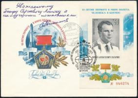 Adrijan Nyikolajev (1929-2004) szovjet űrhajós aláírása emlékborítékon /  Signature of Adriyan Nikolayev (1929-2004) Soviet astronaut on envelope
