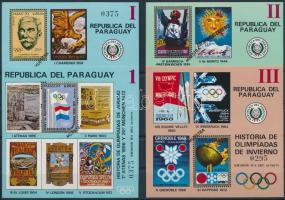 1972 Az olimpiai játékok története 4 db blokk Mi 182-184. 186 MUESTRA