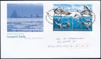 WWF Leopard Seal block of 4 FDC WWF: Leopárdfóka négyestömb FDC-n