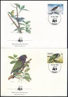 WWF Birds set on 4 FDC, WWF: Madarak sor  4 db FDC-n