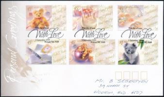 Greeting Stamps set with coupon FDC, Üdvözlőbélyeg szelvényes sor FDC-n