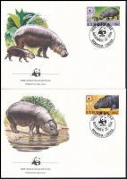 WWF: Törpe víziló sor 4 db FDC-n WWF Dwarf hippo set  4 FDC