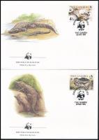 WWF Nile crocodile set 4 FDC, WWF: nílusi krokodil sor 4 FDC-n