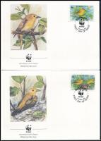 WWF Yellow warbler set on 4 FDC WWF: Sárga poszáta sor  4 db FDC-n