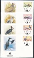WWF Birds set on 4 FDC WWF Madarak 4 db FDC-n