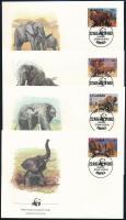 WWF African elephant set 4 FDC, WWF: Afrikai elefánt sor 4 db FDC-n