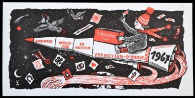 Antoon Vermeylen: Újévi, űrhajós lino ex libris, / New Year Lino spaceship ex libris, bookplate. X3. 21x11 cm