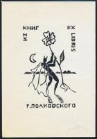 Klein Ervin: Ex libris. Lucifer. Fametszet, Jelzett. / Devil bookplate wood-engraving, Signed 11x15 cm