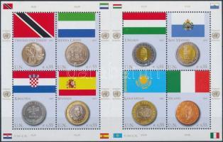 Coins and flags mini sheet, Érmek és zászlók kisív