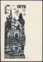 Fery Antal (1908-1944): Városliget, Vajdahunyad vára ex libris. Linó, papír, jelzett, 15x11 cm
