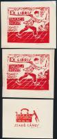 Takács Dezső (1933-): Ex librisek (3db). Linó, papír, jelzett 12x10 cm