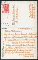 Dévényi Antal festőművész saját kézzel írt képeslapja Kardoss Béla írónak. Saját képét ábrázoló képeslapon.