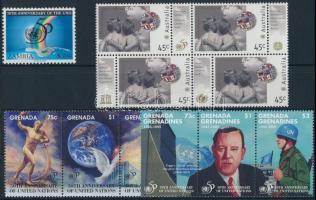 UN 5 sets + 1 block + 6 stamps, ENSZ motívum 5 db sor + 1 blokk + 6 önálló érték
