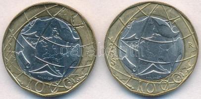 Olaszország 1997. 1000L EU hibás térképpel + 1998. 1000L javított térkép T:1- Italy 1997. 1000 Lire European Union with incorrect map + 1998. 1000 Lire corrected map C:AU