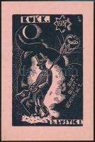 Sterbenz Károly (1901-1993): BUÉK ex libris . Fametszet, papír, jelzett a metszeten, 11,5x7,5 cm