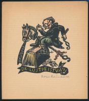 Reinhold, Rose (?-?): Ex libris Dr. Lustig István. Színezett fametszet, papír, jelzett, 8,5×7,5 cm