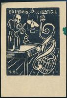 ;RR jelzéssel: Ex libris Dr. Lustig. Fametszet, papír, jelzett, 8x6,5 cm