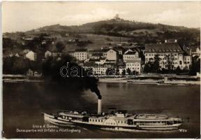 Hebe oldalkerekes személyszállító gőzhajó a Dunán Linznél / Hebe passenger steamship in Linz (EK)