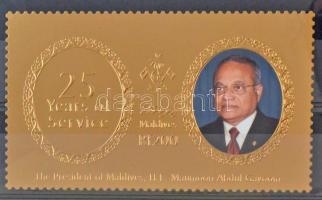 The 25th anniversary of the head of state's office golden foil stamp, Az államfő hivatalba lépésének 25. évfordulója aranyfóliás bélyeg