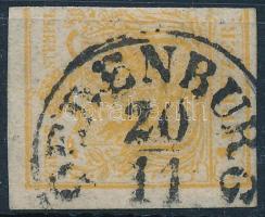 1850 1kr HP narancsokker, jobb oldalon bevágva OEDEBURG