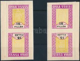 1933 Gyula város illetékbélyeg 2 fordított párban (30.000)
