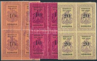 1921 Miskolc városi okmánybélyeg narancs és lilásvörös 10K + világossárga 20K 4-es tömbökben (60.900)