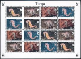 WWF Seahorses mini sheet with 4 set, WWF Csikóhalak 4 sort tartalmazó kisív