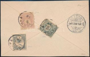 1900 2kr + 20kr + Turul 1f vegyes bérmentesítés levél hátlapon