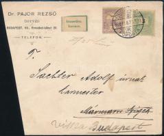 1900 3kr + Turul 4f vegyes bérmentesítés távolsági levéle, visszaküldve