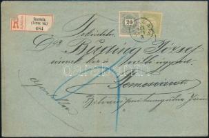 1900 20kr + Turul 5f vegyes bérmentesítés ajánlott levélen GYARMATA