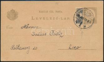 1900 2kr díjjegyes levelezőlap felezett 1kr díjkiegészítéssel NAGY-SZEBEN